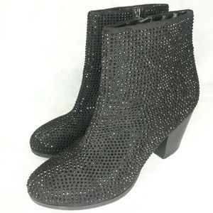 Juicy Couture Bling Rhinestones Sequined Blk Boot